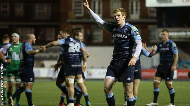 Rhys Patchell celebrates Blues' win over Connacht
