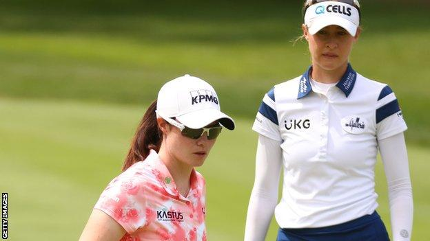 Leona Maguire and Nelly Korda during the final day of the Meijer LPGA Classic in Michigan