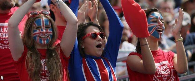 British fans at the Davis Cup quarter-finals against France