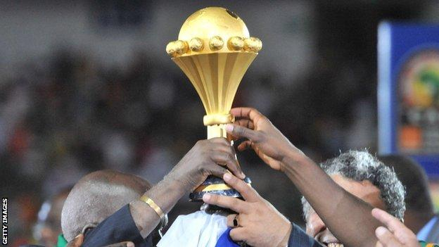 Zambia lift the Africa Cup of Nations trophy in 2012