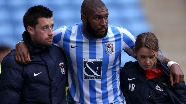 Reda Johnson was helped off late on in Saturday's goalless home draw with Blackpool