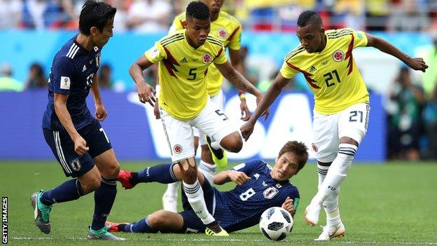 Jose Izquierdo (right) in action for Colombia at the 2018 World Cup