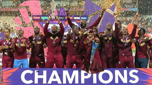 West Indies celebrate winning the 2016 T20 World Cup