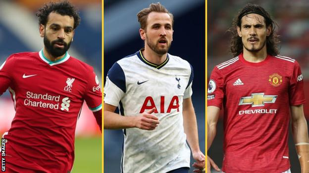 Mohamed Salah (Liverpool), Harry Kane (Tottenham), Edinson Cavani (Man Utd)