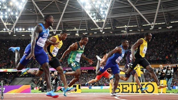 Justin Gatlin wins the 100m at the World Championships in London in 2017