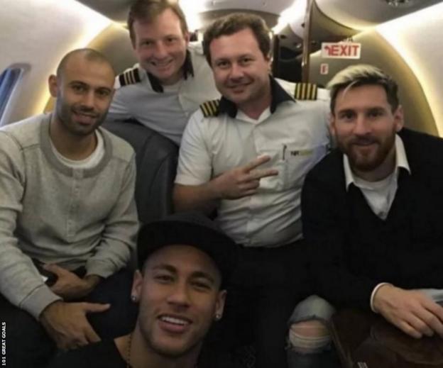 Mascherano, Messi and Neymar on a jet
