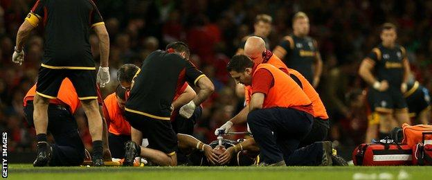 Leigh Halfpenny receives medical treatment