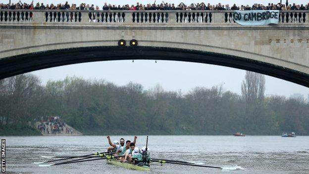 Cambridge boat during Boat Race