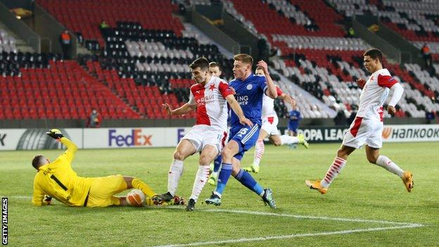 Harvey Barnes racing on to a pass