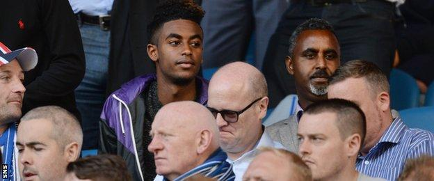 Gedion Zelalem was in the stand to watch Rangers play Hibs on Sunday