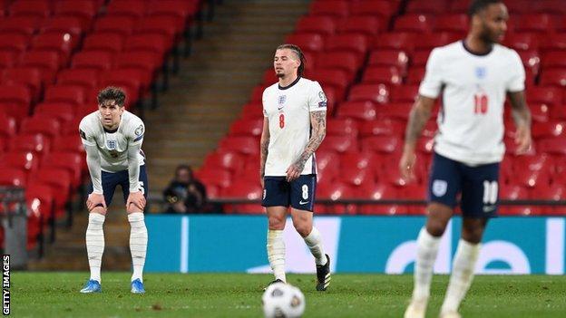 England players react