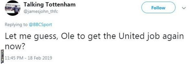 Tweet from Talking Tottenham saying 'Let me guess - Ole to get the United job again now?'