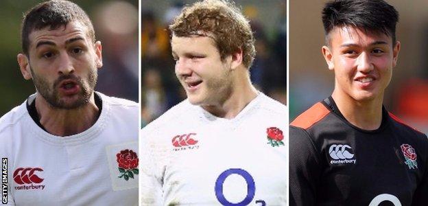 England's Jonny May, Joe Launchbury and Marcus Smith