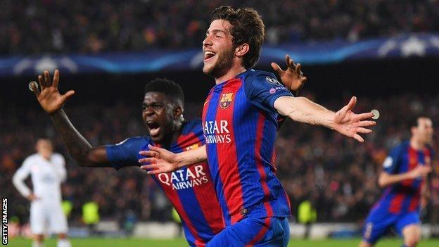 Sergi Roberto celebrates his winner against PSG to send Barcelona to the quarter-finals of the 2016-17 Champions League