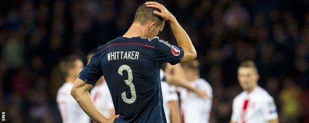 Scotland full-back Steven Whittaker shows his disappointment against Poland