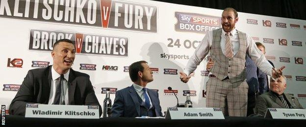 """Tyson Fury, right, has labelled Haye a """"bottle job"""" after twice seeing fights against the Londoner called off"""