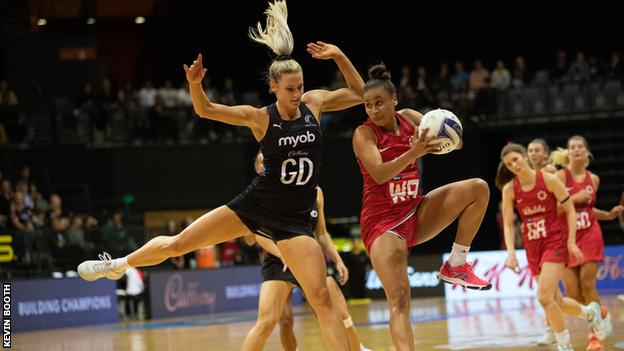 Laura Malcolm in action for England