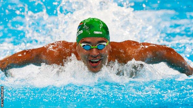 Chad Le Clos competes in the men's 100m butterfly heats at the 2016 Rio Olympic Games