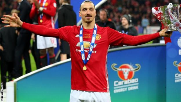 Zlatan Ibrahimovic celebrates Manchester United's victory over Southampton in the EFL Cup final