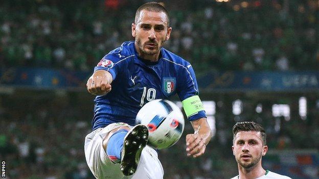 Leonardo Bonucci ha agito contro la Repubblica d'Irlanda a Euro 2016