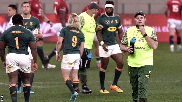 South Africa: Rassie Erasmus faces misconduct hearing for criticising officials in defeat by Lions thumbnail