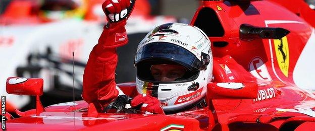 Sebastian Vettel celebrates winning the Hungarian Grand Prix- one of his three race victories this season