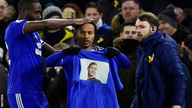 Bobby Reid lifted a t-shirt showing Sala's face when he scored early on