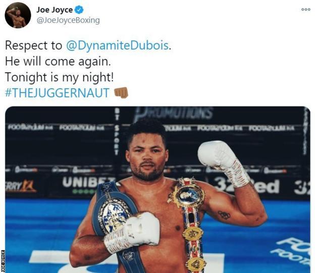 Joe Joyce tweets an image of himself holding the British title