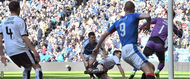 Jason Holt heads in Rangers's second goal at Ibrox
