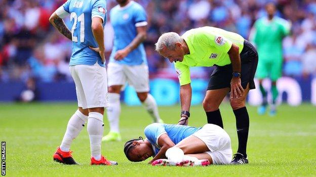 Leroy Sane in pain on Wembley turf