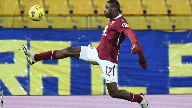 Ivory Coast's Wilfried Singo in action for his Italian club Torino