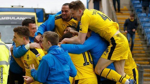 Oxford United celebrate their goal against Bradford