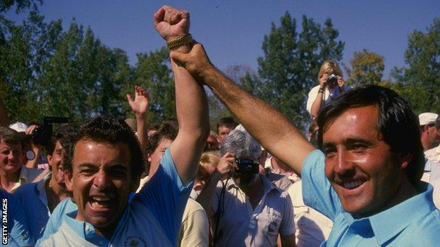 Seve Ballesteros (right) raises the arm of Tony Jacklin aloft after Europe's win at the 1987 Ryder Cup in Ohio