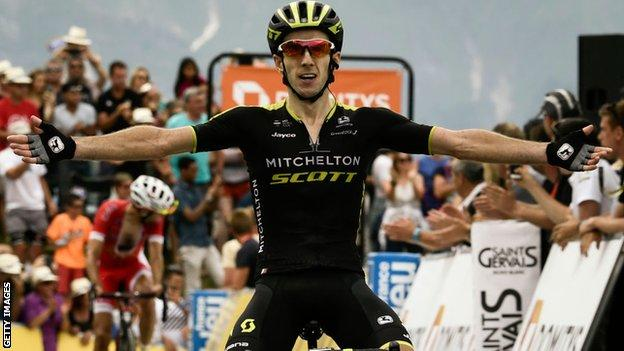 Adam Yates celebrates victory on the seventh stage of the 2018 Criterium du Dauphine