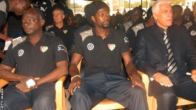 Adebayor and his Togo team-mates arrived back in Togo's capital, Lome on 11 January