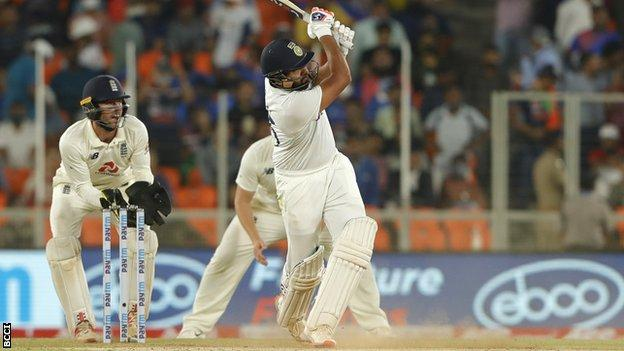Rohit Sharma hits a six to win the game