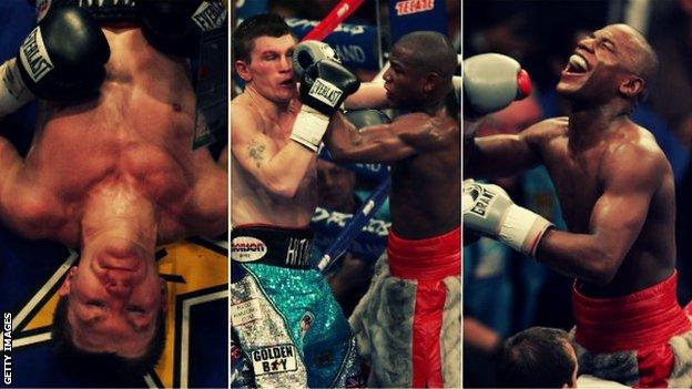 Ricky Hatton is knocked out by Floyd Mayweather in December 2007