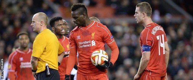 Mario Balotelli prepares to take a penalty for Liverpool