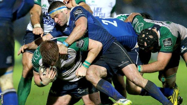 Fergus McFadden puts in a tackle in Friday's game in Dublin