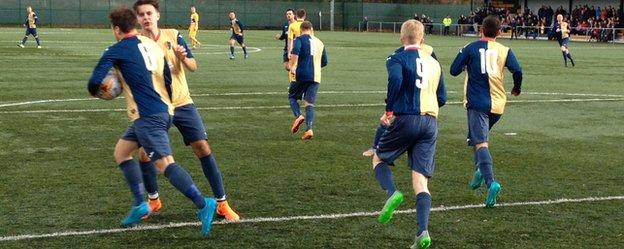 Sean Winter wheels away with ball in hand after equalising for East Kilbride