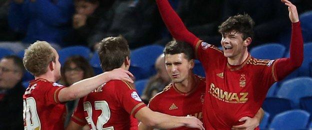 Nottingham Forest celebrate Oliver Burke's goal