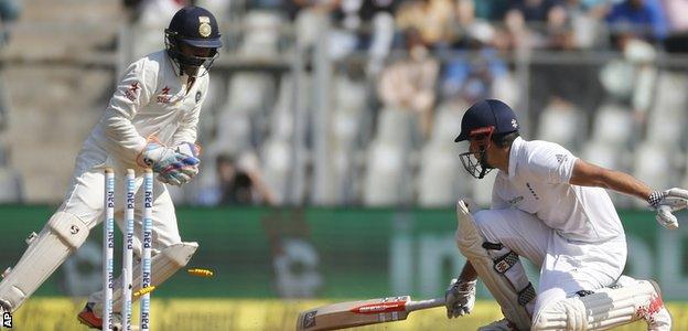 Alastair Cook was stumped by Parthiv Patel as he moved down the wicket to Ravindra Jadeja