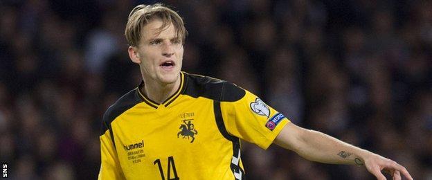 Hibernian midfielder Vykintas Slivka in action for Lithuania against Scotland