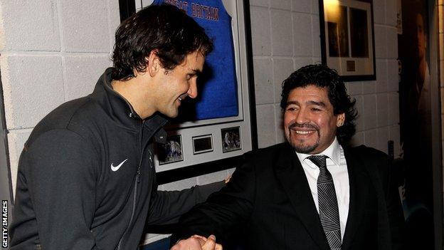 Roger Federer and Diego Maradona