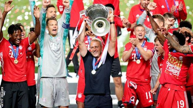 Hansi Flick led Bayern to their second Treble last season, lifting the Bundesliga, German Cup and UEFA Champions League