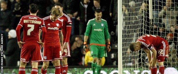 Cardiff players during the game at Derby County