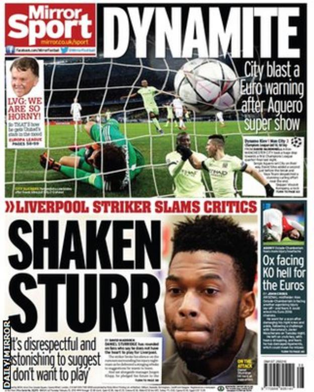 Thursday's Mirror back page
