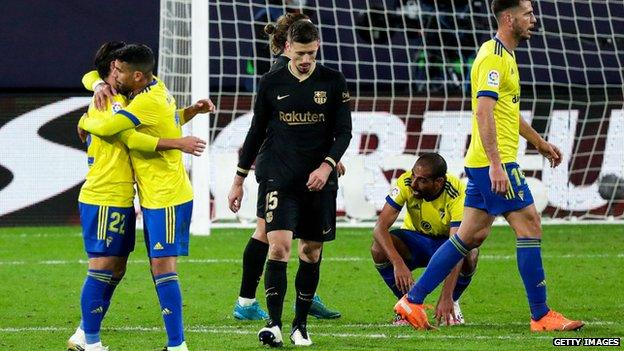 Barcelona's Clement Lenglet looks frustrated as Cadiz secure a surprise win