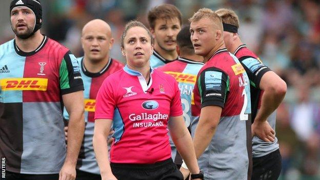 Sara Cox made history by becoming the first female to take charge of a Premiership game
