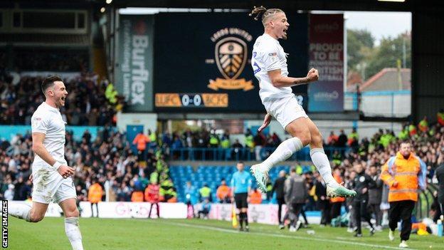 Kalvin Phillips (right) celebrates scoring against Birmingham at Elland Road last season